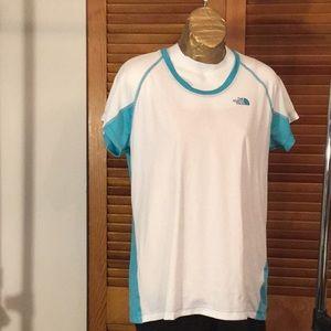 North Face FlashDry Aqua and White Shirt